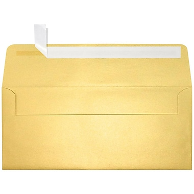 LUX Peel & Press #10 Square Flap Envelopes (4 1/8 x 9 1/2) 500/Box, Gold Metallic (5360-07-500)