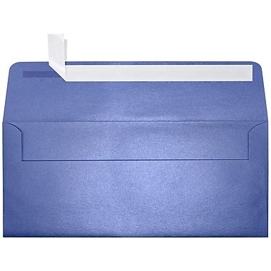 LUX Peel & Press #10 Square Flap Envelopes (4 1/8 x 9 1/2) 50/Pack, Sapphire Metallic (5360-18-50)