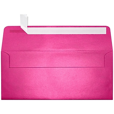 LUX Peel & Press #10 Square Flap Envelopes (4 1/8 x 9 1/2) 50/Pack, Azalea Metallic (5360-24-50)