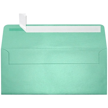 LUX Peel & Press #10 Square Flap Envelopes (4 1/8 x 9 1/2) 250/Box, Lagoon Metallic (5360-27-250)