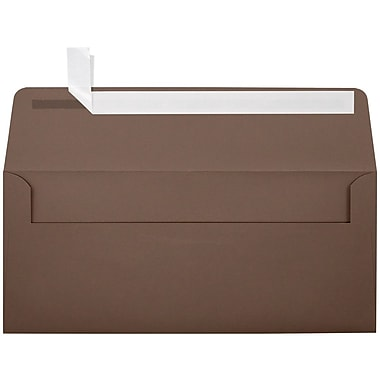 LUX Peel & Press #10 Square Flap Envelopes (4 1/8 x 9 1/2) 500/Box, Chocolate Brown (EX4860-17-500)