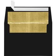 "LUX® 80lbs. 4 1/4"" x 6 1/4"" A4 Photo, Invitation Envelopes W/Peel & Press, Black/Gold LUX, 250/BX"