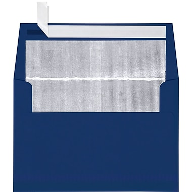 LUX A4 Foil Lined Invitation Envelopes (4 1/4 x 6 1/4) 50/Box, Navy w/Silver LUX Lining (FLNV4872-03-50)