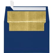 "LUX® 80lbs. 4 1/4"" x 6 1/4"" A4 Photo, Invitation Envelopes W/Peel & Press, Navy Blue/Gold LUX, 250/BX"