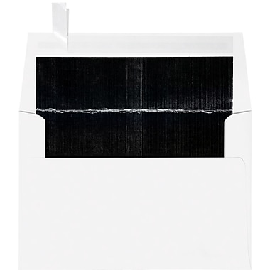 LUX A4 Foil Lined Invitation Envelopes (4 1/4 x 6 1/4) 1000/Box, White w/Black LUX Lining (FLWH4872-02-100)