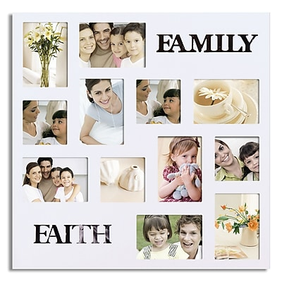 AdecoTrading 12 Opening Decorative ''Faith and Family'' Wall Hanging Collage Picture Frame; White WYF078278645915