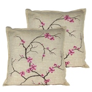 Serenta Cherry Blossom Throw Pillow (Set of 2); Pink