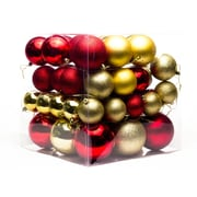 Queens of Christmas 62 Piece Ball Ornament Set; Red/Gold