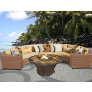TK Classics Laguna Outdoor Wicker 6 Piece Deep Seating Group w/ Cushion; Sesame