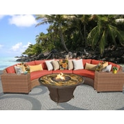 TK Classics Laguna Outdoor Wicker 6 Piece Deep Seating Group w/ Cushion; Tangerine