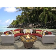 TK Classics Florence Outdoor Wicker 6 Piece Deep Seating Group w/ Cushion; Terracotta