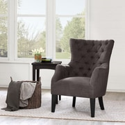 Madison Park Hannah Button Tufted Wing Back Arm Chair; Brown