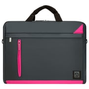 "Vangoddy Adler Laptop Shoulder Bag 15.6"" (Metallic Gray with Magenta Trim)"