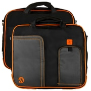 Vangoddy Pindar Laptop Sleeve Messenger Shoulder Bag - Small (Black and Orange)