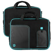 "Vangoddy Pindar Laptop Sleeve Messenger Shoulder Bag Fits up to 13"" Laptops - Medium (Black and Aqua)"