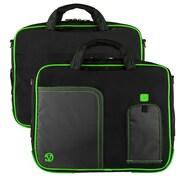 """Vangoddy Pindar Laptop Sleeve Messenger Shoulder Bag Fits up to 13"""" Laptops - Medium (Black and Green)"""