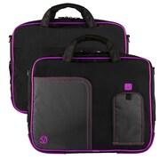 """Vangoddy Pindar Laptop Sleeve Messenger Shoulder Bag Fits up to 13"""" Laptops - Medium (Black and Purple)"""
