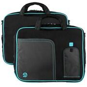 """Vangoddy Pindar Laptop Sleeve Messenger Shoulder Bag Fits up to 15"""" Laptops - Large (Black and Aqua)"""