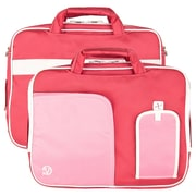 """Vangoddy Pindar Laptop Sleeve Messenger Shoulder Bag Fits up to 15"""" Laptops - Large (Pink and White)"""