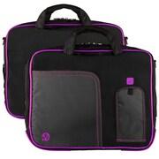"""Vangoddy Pindar Laptop Sleeve Messenger Shoulder Bag Fits up to 15"""" Laptops - Large (Black and Purple)"""