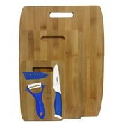 Culinary Edge 6 Piece Bamboo Ceramic Cutting Board Set; Blue