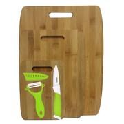 Culinary Edge 6 Piece Bamboo Ceramic Cutting Board Set; Green