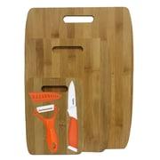 Culinary Edge 6 Piece Bamboo Ceramic Cutting Board Set; Orange