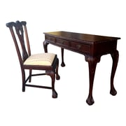 D-Art Collection England Side Chair Writing Desk; Beige Stripe