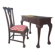D-Art Collection England Writing Desk and England Side Chair; Red and Gold Stripes