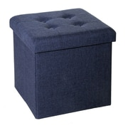 Seville Classics Tufted Foldable Storage Cube Ottoman; Midnight Blue