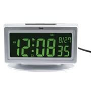 "La Crosse® 3.75"" x 2.5"" x 6"" White Color Changing LCD Alarm Clock (30451)"