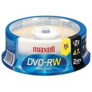 Maxell 635117 4.7GB DVD-RW Recordable Media, Spindle, 15/Pack