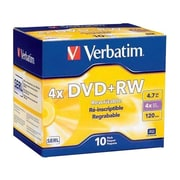Verbatim® DataLifePlus® 94839 4.7GB DVD+RW Recordable Media with Branded Surface, Slim Case, 10/Pack