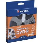 Verbatim® 97946 4.7GB DVD-R Recordable Media with DigitalMovie Surface, Bulk Box, 10/Pack