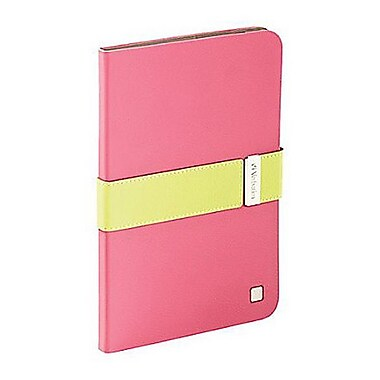 Verbatim® 98418 Folio Signature Case for iPad mini 1/2/3, Pink/Lime Green