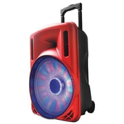 Supersonic® IQ Sound® IQ-3212DJBT Portable Bluetooth DJ Speaker with Disco Light, Red