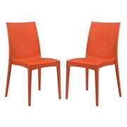 LeisureMod Mace Side Chair (Set of 2); Orange