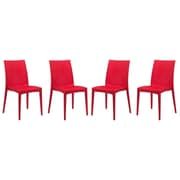 LeisureMod Mace Side Chair (Set of 4); Red