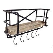 Wilco Home Store It Metal Wall Shelf w/ Wood Tray and Moveable Hooks