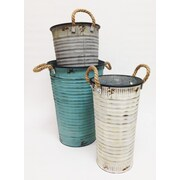 Wilco Home Farm to Table 3 Piece Corrugated Tin French Flower Bucket w/ Rope Side Handle Set