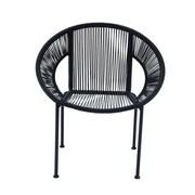 Cole & Grey Metal Arm Chair; Black