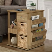 Gallerie Decor All in One 2 Drawer Revolving Side Table/Cabinet; Natural