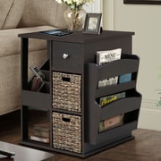 Gallerie Decor All in One 2 Drawer Revolving Side Table/Cabinet; Espresso