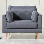 Madison Home USA Ultra Plush Linen Fabric Club Chair; Dark Gray