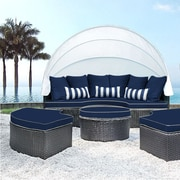 SolisPatio Sombra Daybed w/ Cushions; Navy/White