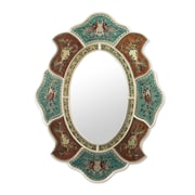 Novica Aqua Phoenix Reverse Painted Glass Hand crafted Wall Mirror and Frame