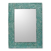 Novica Aqua Cosmos Wall Mirror and Frame Hand crafted
