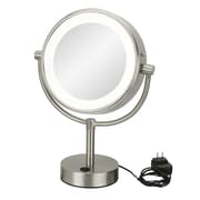 Kimball & Young Neo Modern Double-Sided LED Lighted Free Standing Magnified Makeup Mirror