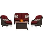 Hanover Ventura 4 Piece Fire Pit Deep Seating Group w/ Cushions; Red