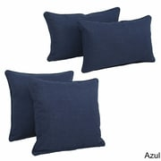 Blazing Needles Blazing Needles Soft Home Furnishings 4 Piece Outdoor Throw Pillows Set; Azul
